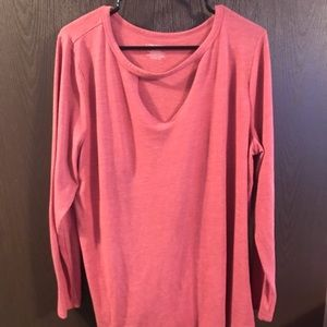 Long sleeve shirt with cut out and high neck